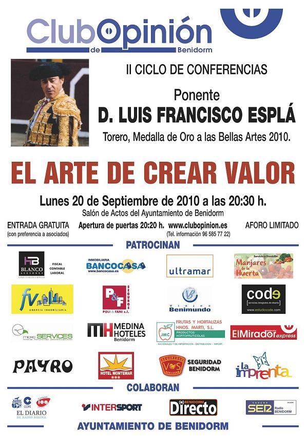 Próxima conferencia - Luis Francisco Esplá - 20-09-2010